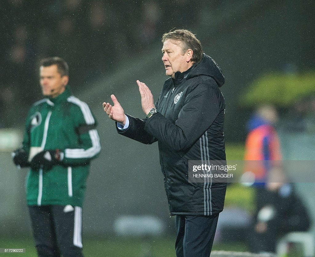 Denmark's new Norwegian Coach Aage Hareide reacts during the friendly football match Denmark vs Iceland in Herning, Denmark on March 24, 2016. / AFP / Scanpix / Henning Bagger / Denmark OUT