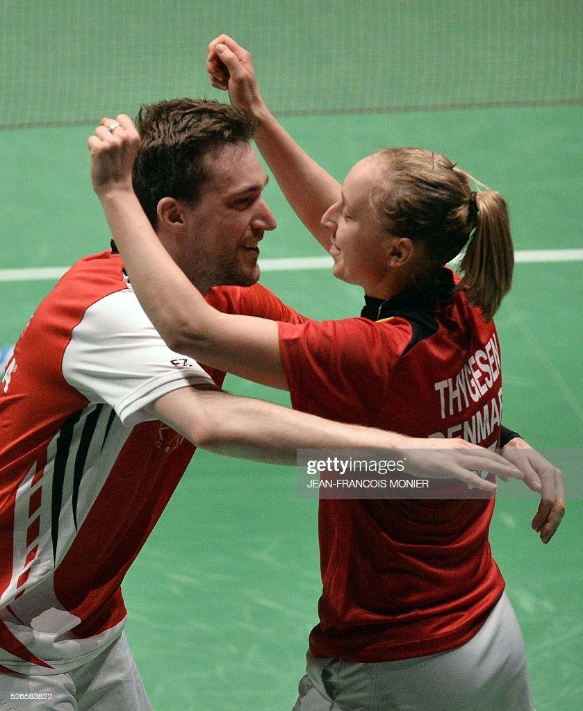Denmark s Niclas Nohr L and teammate Sara Thygesen celebrate