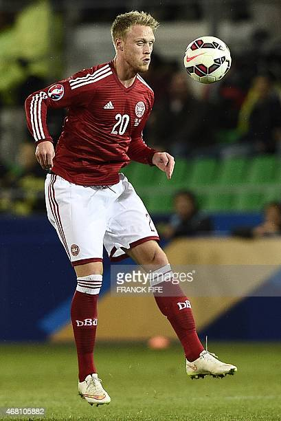 Denmark's Nicolai Joergensen controls the ball during the friendly football match France vs Denmark on March 29 2015 at the GeoffroyGuichard stadium...