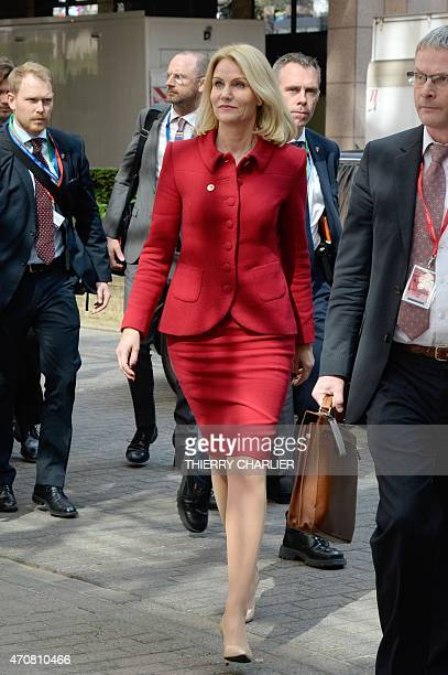 Denmark's Prime minister Helle ThorningSchmidt arrives at the European Council headquarters for an extraordinary summit of European leaders to deal...