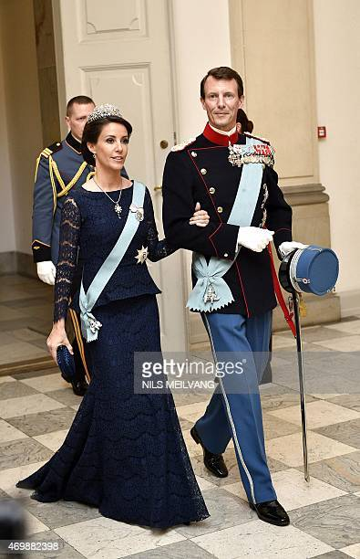Denmark's Princess Marie and Prince Joachim arrive for Denmark's Queen Margrethe's 75th birthday dinner at Christiansborg Palace on April 15 2015 AFP...
