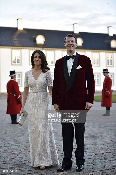Denmark's Princess Marie and Prince Joachim arrive for the dinner at Fredensborg Castle on the occasion of Queen Margrethe's 75th birthday on April...
