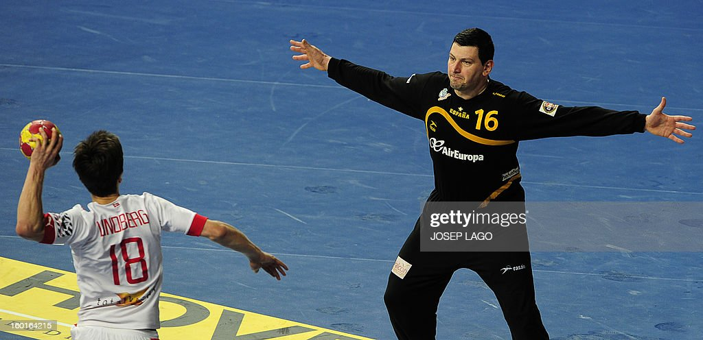 Denmark's right wing Hans Lindberg (L) jumps to shoot at Spain's goalkeeper Arpad Sterbik during the 23rd Men's Handball World Championships final match Spain vs Denmark at the Palau Sant Jordi in Barcelona on January 27, 2013.