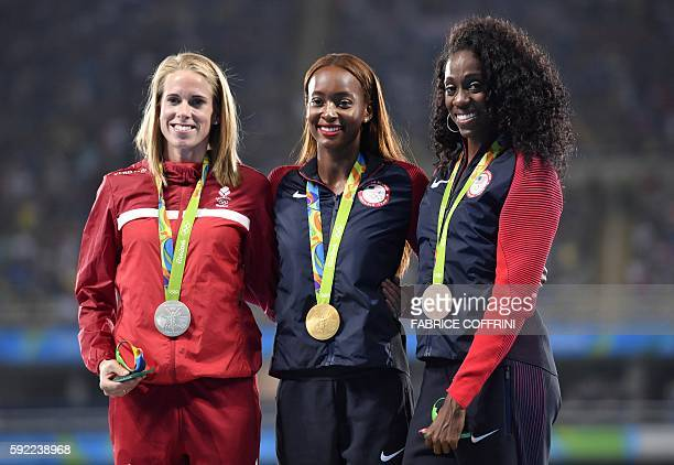 Denmark's Sar Slott Petersen USA's Dalilah Muhammad and USA's Ashley Spencer pose during the podium ceremony for the Women's 400m hurdles during the...
