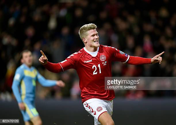 Denmark's striker Andreas Cornelius celebrates scoring the 10 goal during the World Cup 2018 qualification football match between Denmark and...