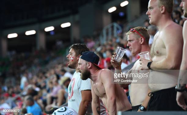 Denmark's supporters cheer during the UEFA U21 European Championship Group C football match Czech Republic v Denmark in Tychy Poland on June 24 2017...