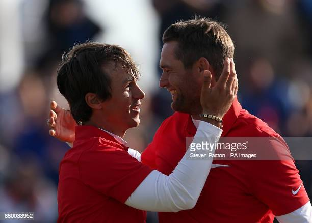 Denmark's Thorbjorn Olesen and Lucas Bjerregaard celebrates after the winning the final during day two of the Golf Sixes at the Centurion Club St...