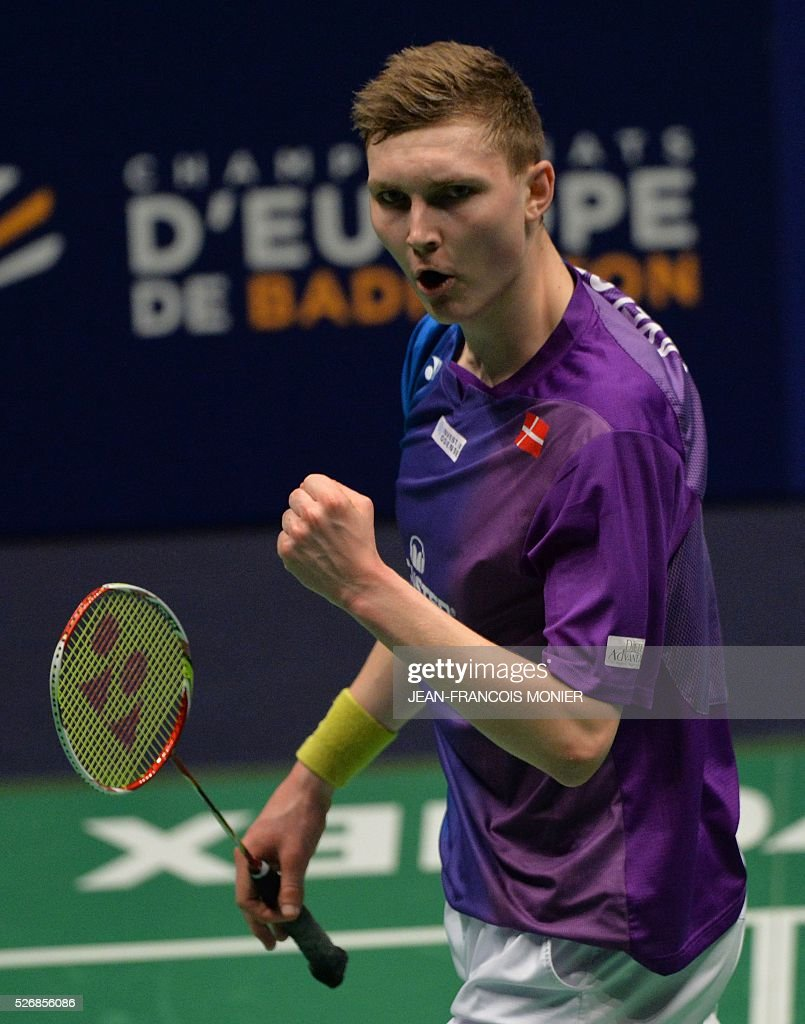 Denmark's Viktor Axelsen reacts after winning to Denmark's Jan O Jorgensen during their 2016 European Championships Badminton simple men's final match, on May 1, 2016 in Mouilleron-le-Captif, western France. / AFP / JEAN