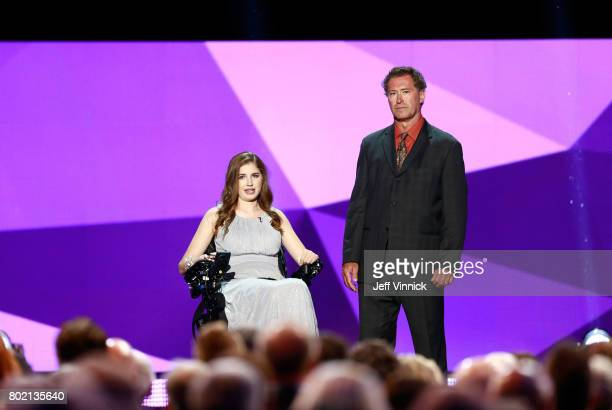 Denna Laing and former NHL player Bobby Carpenter speak onstage during the 2017 NHL Awards Expansion Draft at TMobile Arena on June 21 2017 in Las...
