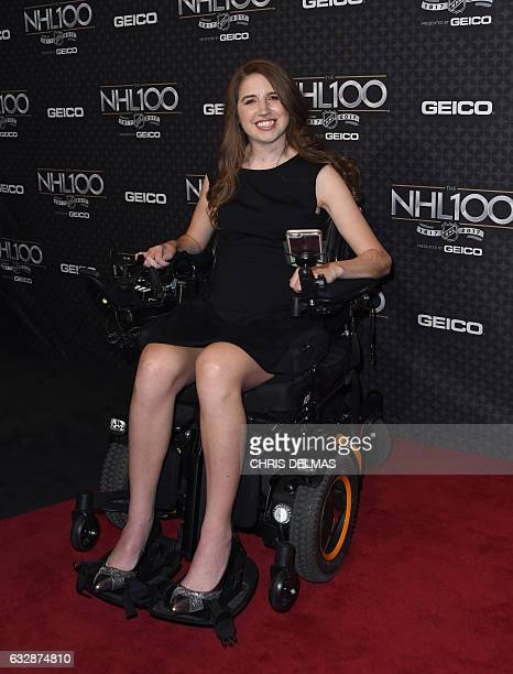 Denna Laing attends the red carpet event for the NHL 100 gala presented by Geico at the Microsoft theatre in Los Angeles on January 27 2017 / AFP /...