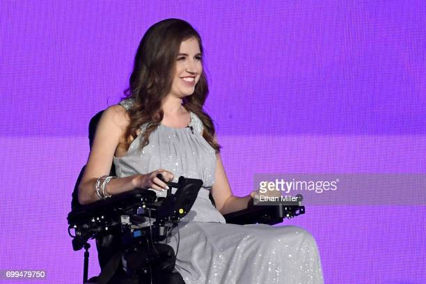 Denna Laing of the Boston Pride of the National Women's Hockey League is seen onstage during the 2017 NHL Awards and Expansion Draft at TMobile Arena...