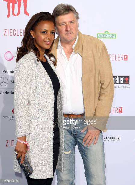 Dennenesch Zoude and Carlo Rola arrive for a brunch celebrating 40 years of the Ziegler Film production company at Mercedes Welt on April 27 2013 in...