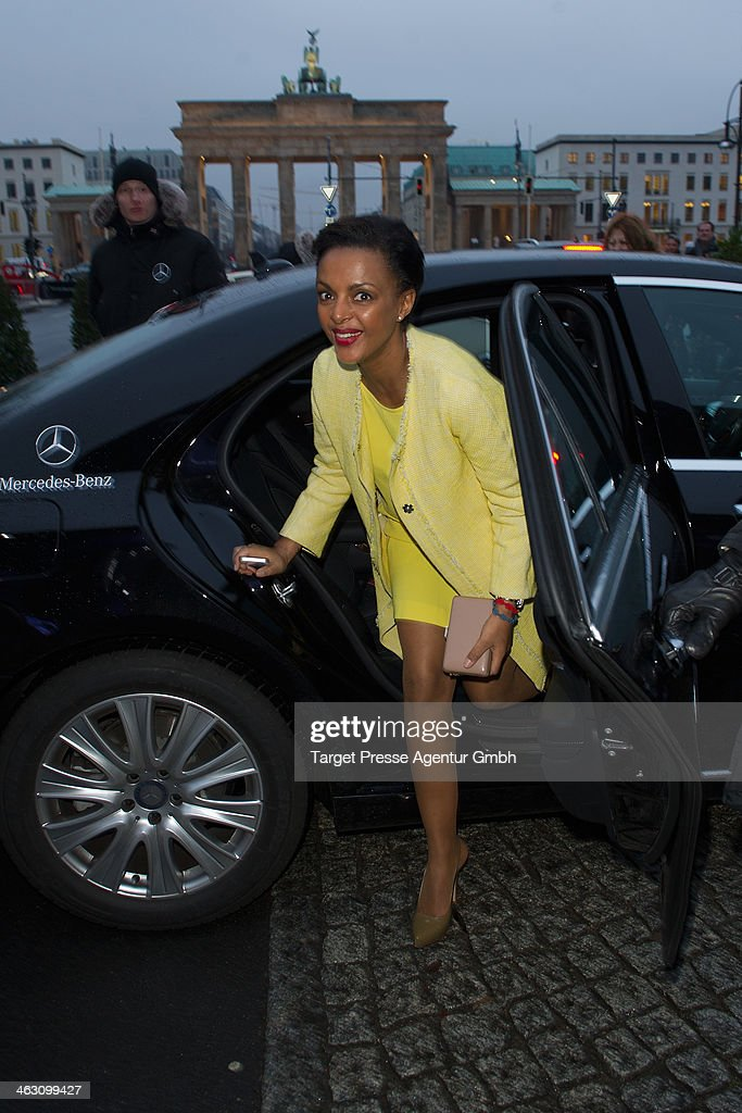 Dennenesch Zoude arrives at the Marc Cain show during Mercedes-Benz Fashion Week Autumn/Winter 2014/15 at Brandenburg Gate on January 16, 2014 in Berlin, Germany.