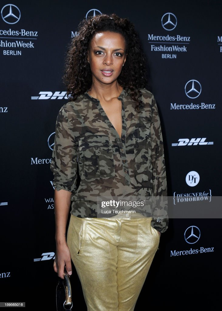 Dennenesch Zoude attends Blacky Dress Autumn/Winter 2013/14 fashion show during Mercedes-Benz Fashion Week Berlin at Brandenburg Gate on January 16, 2013 in Berlin, Germany.
