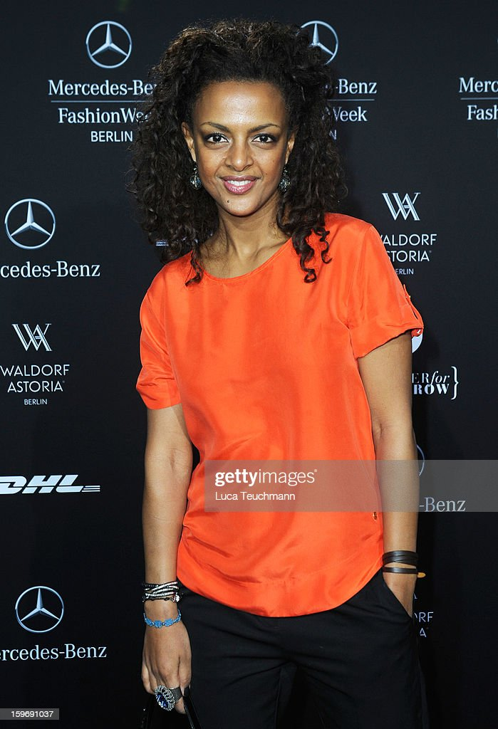 Dennenesch Zoude attends Miranda Konstantinidou Autumn/Winter 2013/14 fashion show during Mercedes-Benz Fashion Week Berlin at Brandenburg Gate on January 18, 2013 in Berlin, Germany.