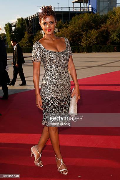 Dennenesch Zoude attends the Deutscher Fernsehpreis 2013 Red Carpet Arrivals at Coloneum on October 02 2013 in Cologne Germany