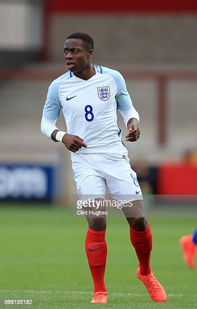 Dennis Adeniran of England U18 during the international friendly match between England U18 and Italy U18 at Highbury Stadium on September 1 2016 in...