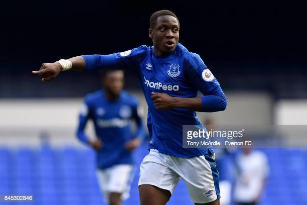 Dennis Adeniran of Everton during the Premier League 2 match between Everton U23 and Tottenham Hotspur U23 at Goodison Park on September 10 2017 in...