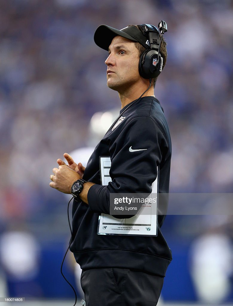 Dennis Allen the head coach of the Oakland Raiders watches the game action during the NFL game against the Indianapolis Colts at Lucas Oil Stadium on September 8, 2013 in Indianapolis, Indiana.
