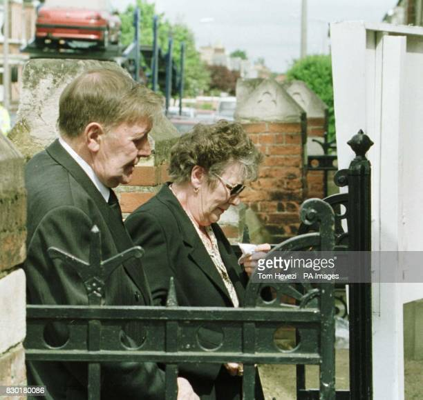 Dennis and Betty Light parents of John Light arrive for his funeral at the Wimpole Road Methodist Church in Colchester John Light was one of three...