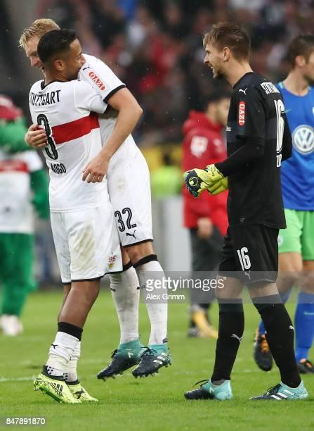 Dennis Aogo Andreas Beck and RonRobert Zieler of Stuttgart celebrate after the Bundesliga match between VfB Stuttgart and VfL Wolfsburg at...