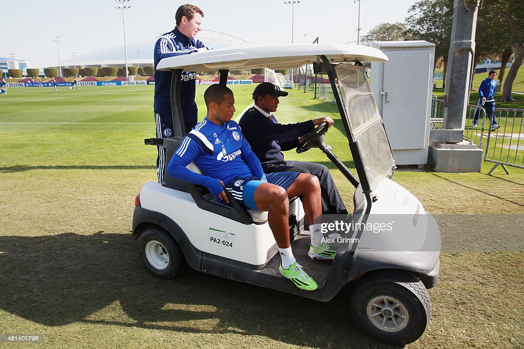 <a gi-track='captionPersonalityLinkClicked' href=/galleries/search?phrase=Dennis+Aogo&family=editorial&specificpeople=787086 ng-click='$event.stopPropagation()'>Dennis Aogo</a> leaves the training ground in a golf cart during day 7 of the FC Schalke 04 training camp at the ASPIRE Academy for Sports Excellence on January 12, 2015 in Doha, Qatar.