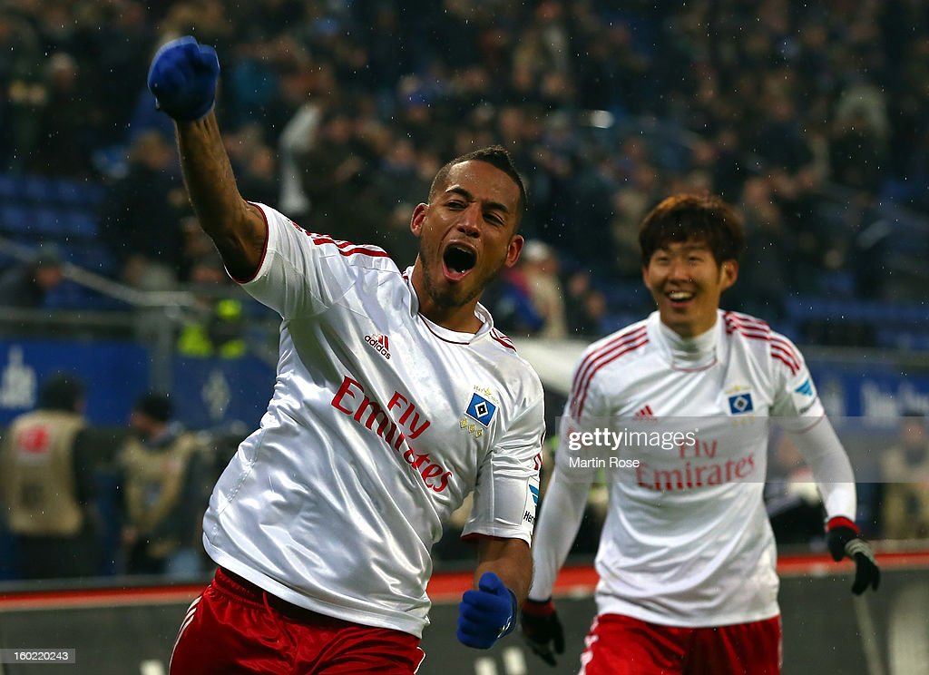 Dennis Aogo of Hamburg celebrates after he scores his team's 2nd goal during the Bundesliga match between Hamburger SV and SV Werder Bremen at Imtech Arena on January 27, 2013 in Hamburg, Germany.