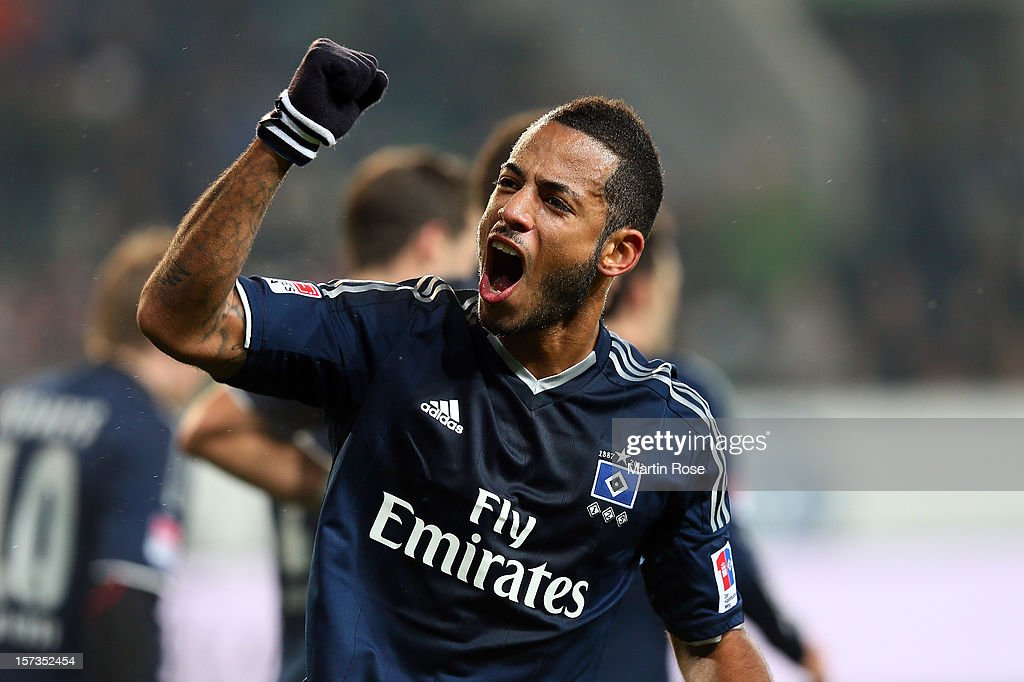 <a gi-track='captionPersonalityLinkClicked' href=/galleries/search?phrase=Dennis+Aogo&family=editorial&specificpeople=787086 ng-click='$event.stopPropagation()'>Dennis Aogo</a> of Hamburg celebrates his team's opening goal during the Bundesliga match between VfL Wolfsburg and Hamburger SV at Volkswagen Arena on December 2, 2012 in Wolfsburg, Germany.