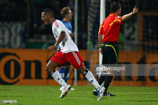 Dennis Aogo of Hamburg scores his team's second goal during the DFB Cup second round match between Eintracht Trier and Hamburger SV at Moselstadion...