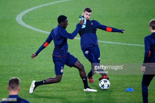 Dennis Appiah defender of RSC Anderlecht and Massimo Bruno midfielder of RSC Anderlecht during the press conference and training session of Rsc...