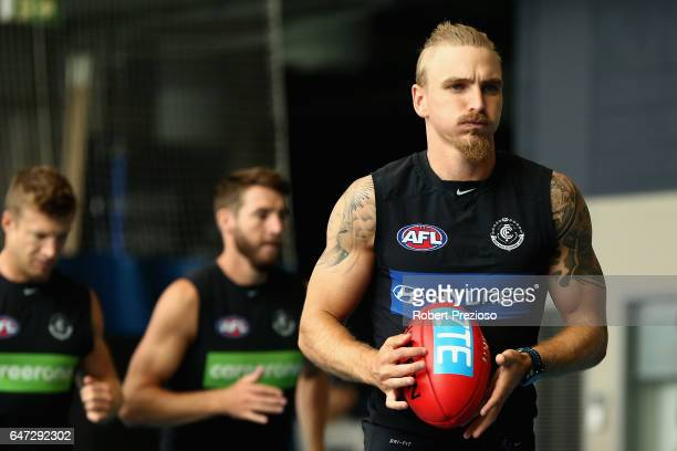 Dennis Armfield runs during a Carlton Blues AFL media opportunity at Ikon Park on March 3 2017 in Melbourne Australia