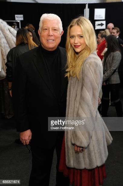 Dennis Basso and Johanna Braddy attend the Dennis Basso Collection Show during New York Fashion Week The Shows at Skylight Clarkson Sq on February 14...
