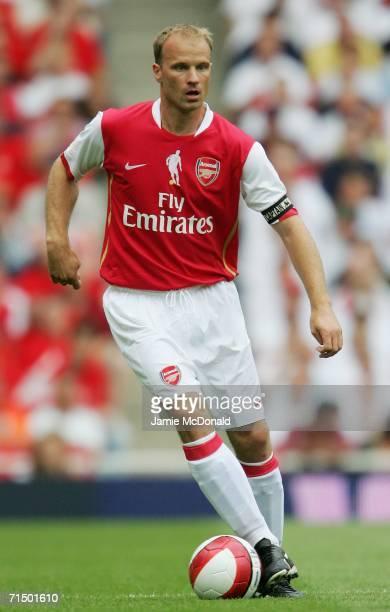 Dennis Bergkamp of Arsenal controls the ball during the Dennis Bergkamp testimonial match between Arsenal and Ajax at the Emirates Stadium on July 22...