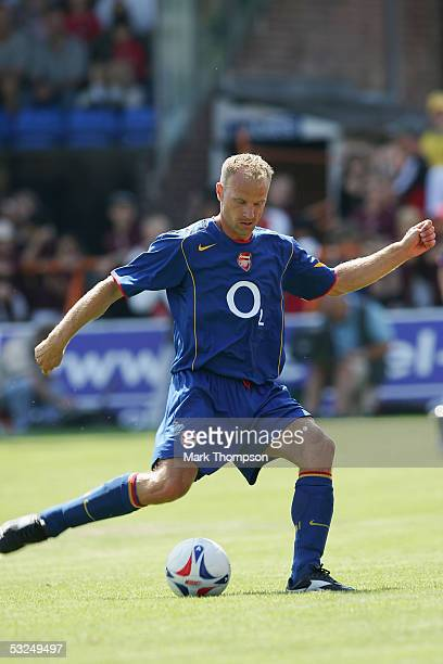 Dennis Bergkamp of Arsenal during the preseason friendly match between Barnet FC and Arsenal at Underhill Stadium on July 16 2005 in Barnet London