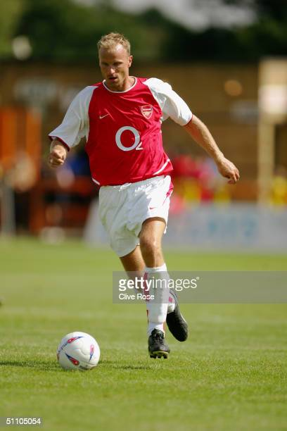 Dennis Bergkamp of Arsenal in action during the PreSeason friendly match between Barnet and Arsenal at the Underhill Stadium Barnet on July 17 2004...