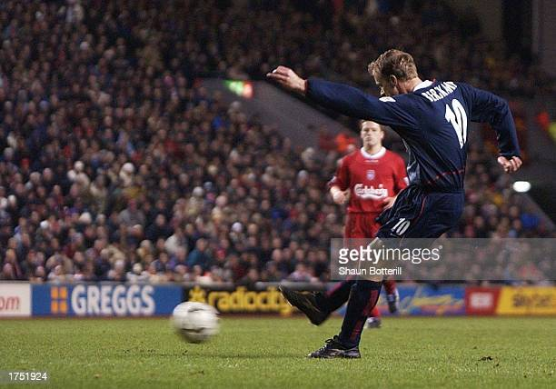 Dennis Bergkamp of Arsenal scores the second goal for Arsenal during the Liverpool v Arsenal FA Barclaycard Premiership match at Anfield on January...