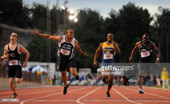 Dennis Boone of St Augustine's University sprints towards the finish line in the 200 meter dash during the Division II Mens and Womens Outdoor Track...