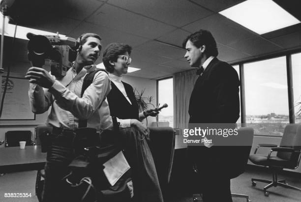 Dennis Champine Mayor of Aurora being interviewed by Channel 7 news team Credit The Denver Post