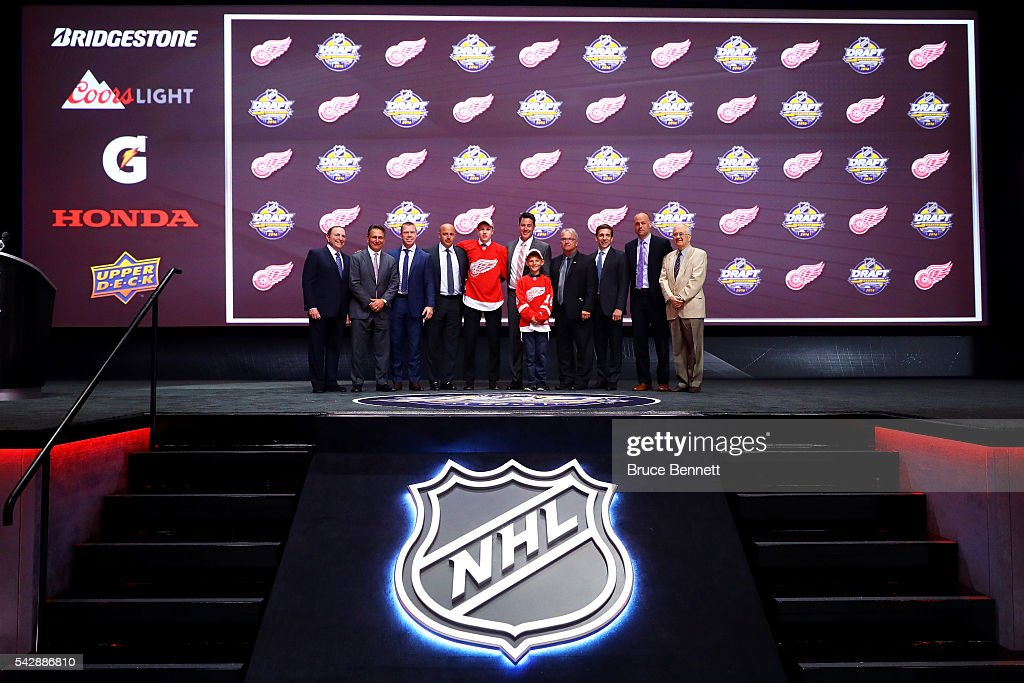 <a gi-track='captionPersonalityLinkClicked' href=/galleries/search?phrase=Dennis+Cholowski&family=editorial&specificpeople=15442637 ng-click='$event.stopPropagation()'>Dennis Cholowski</a> celebrates with the Detroit Red Wings after being selected 20th overall during round one of the 2016 NHL Draft on June 24, 2016 in Buffalo, New York.