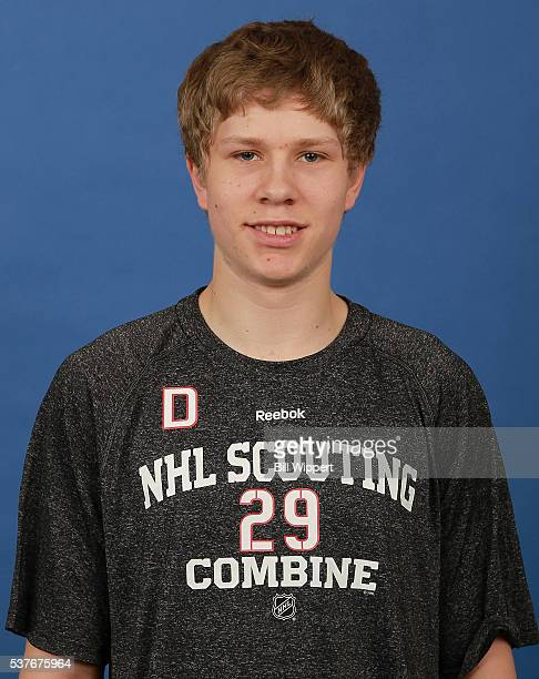 Dennis Cholowski poses for a headshot at the 2016 NHL Combine on June 2 2016 at Harborcenter in Buffalo New York