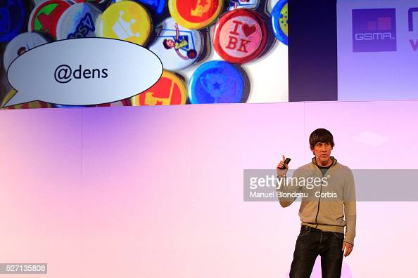 Dennis Crowley chief executive officer of Foursquare speaks during a keynote event at the Mobile World Congress in Barcelona on February 29 2012 on...