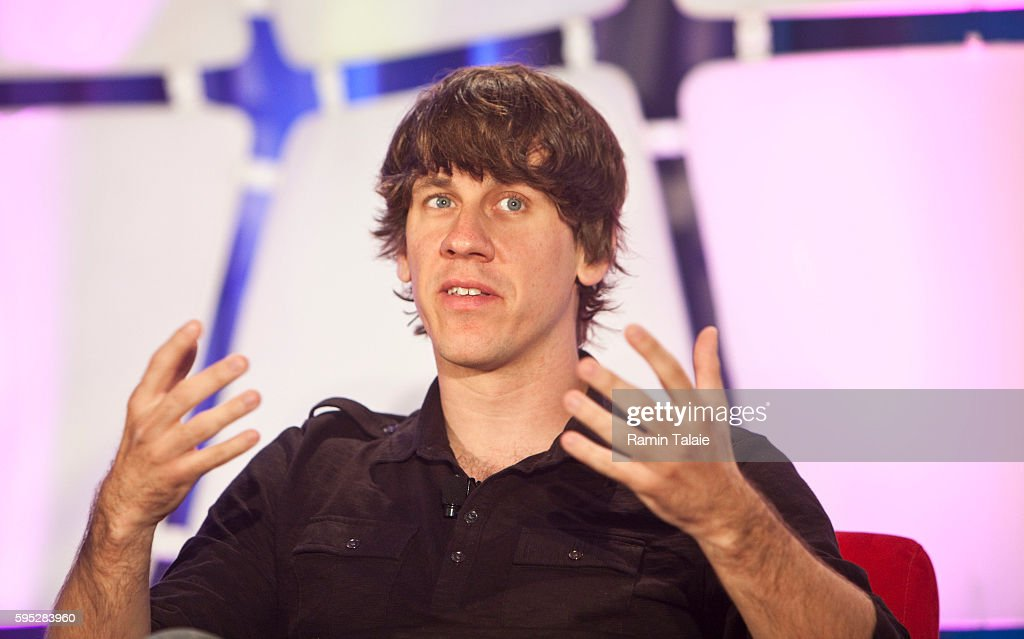 Dennis Crowley CoFounder of FourSquare speaks during the TechCrunch Disrupt conference in New York on Tuesday May 25 2010 Crowley is currently an...