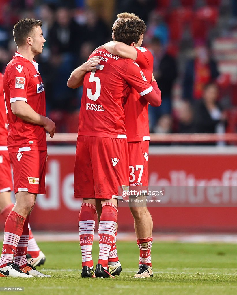 Dennis Daube, Benjamin Kessel and Toni Leistner of 1 FC Union Berlin after the game between Union Berlin and dem VfL Bochum on april 29, 2016 in Berlin, Germany.