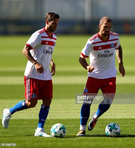 Dennis Diekmeier and Pierre Michel Lasogga control the ball during a training session of Hamburger SV at Volksparkstadion on July 9 2017 in Hamburg...