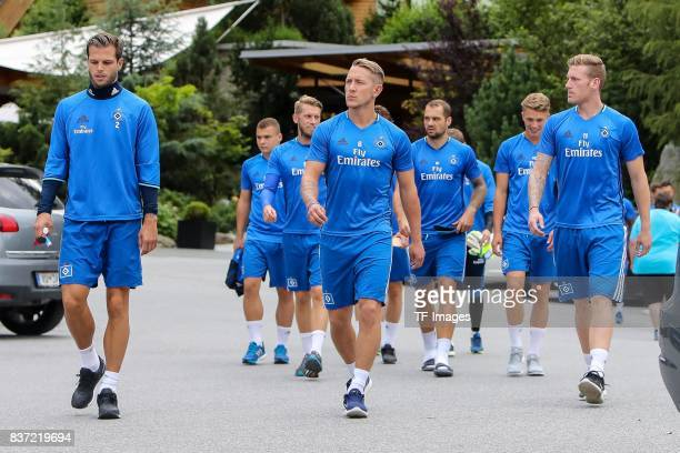 Dennis Diekmeier of Hamburg Lewis Holtby of Hamburg and Andre Hahn of Hamburg looks on during the Training Camp of Hamburger SV on July 22 2017 in...