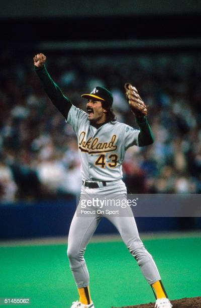 Dennis Eckersley of the Oakland Athletics celebrates after pitching against the Los Angeles Dodgers during the World Series at the OaklandAlameda...