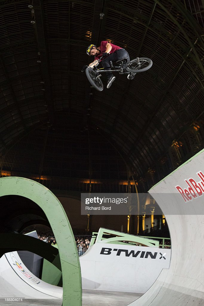 Dennis Enarson from the USA performs during the finals of the RedBull Skylines BMX Contest at Grand Palais on November 2, 2012 in Paris, France.