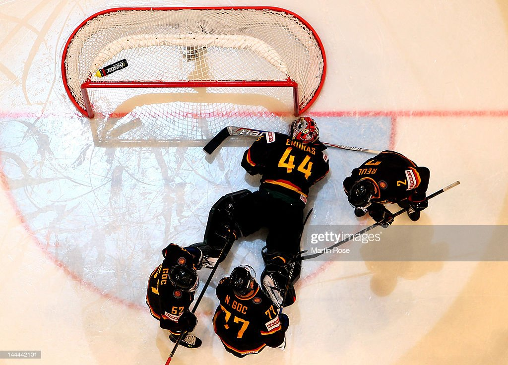 Dennis Endras (#44), goaltender of Germany lies on the ice after Norway scores during the IIHF World Championship group S match between Germany and Norway at Ericsson Globe on May 13, 2012 in Stockholm, Sweden.