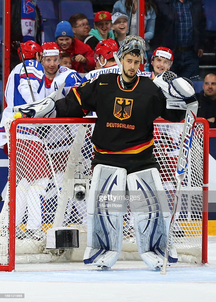<a gi-track='captionPersonalityLinkClicked' href=/galleries/search?phrase=Dennis+Endras&family=editorial&specificpeople=5526366 ng-click='$event.stopPropagation()'>Dennis Endras</a>, goaltender of Germany looks dejected during the IIHF World Championship group H match between Germany and Russia at Hartwall Areena on May 5, 2013 in Helsinki, Finland.