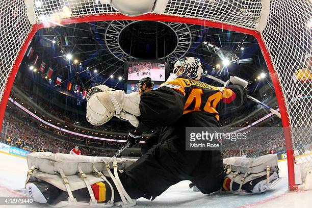 Dennis Endras goaltender of Germany tends net against Austria during the IIHF World Championship group A match between Germany and Austria at o2...